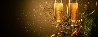 16525546 - two champagne glasses ready to bring in the new year